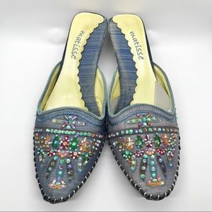 Matisse chambray mules with multicolored beading